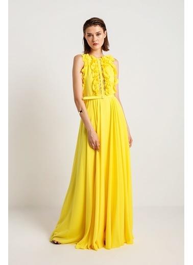 Rue Dantelli Volanlı Uzun Abiye Elbise Sarı